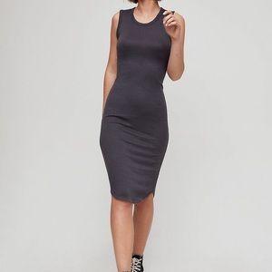 Wilfred  Black Stretchy Midi Bruni Dress M EUC